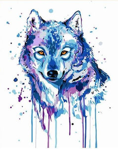 Splashy Wolf Paint by Numbers