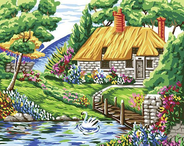 Spring House Paint by Numbers