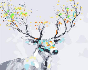 Stag with Colorful Antlers Paint by Numbers