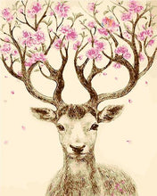 Load image into Gallery viewer, Stag with Floral Antlers Paint by Numbers