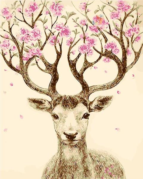 Stag with Floral Antlers Paint by Numbers