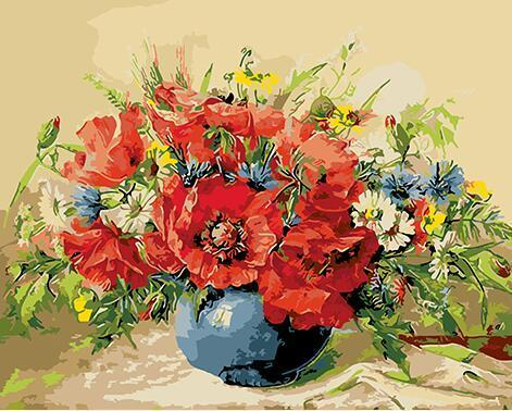 Still Life Poppies Paint by Numbers