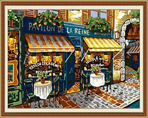 Street Cafe Paris Paint by Numbers