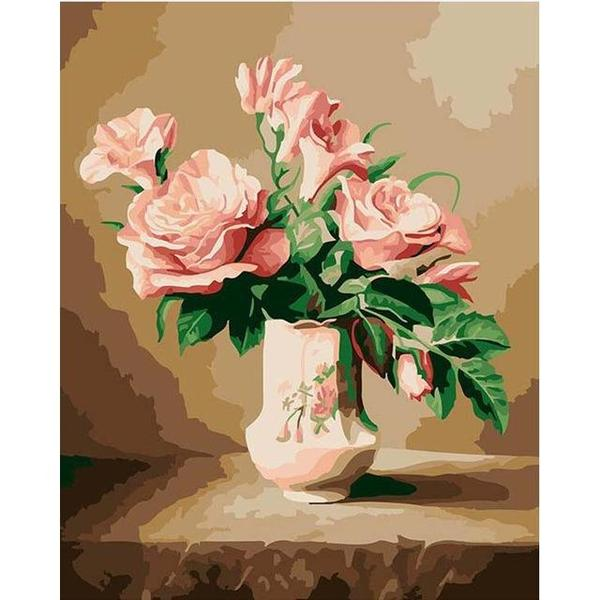 Stunning Pink Roses Paint by Numbers