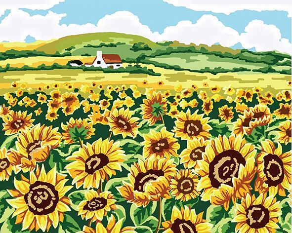 Sunflowers Field Paint by Numbers
