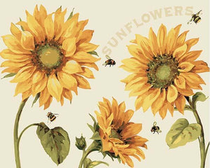Sunflowers & Honey Bees Paint by Numbers