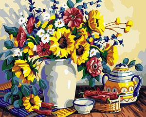 Sunflowers Still Life Paint by Numbers
