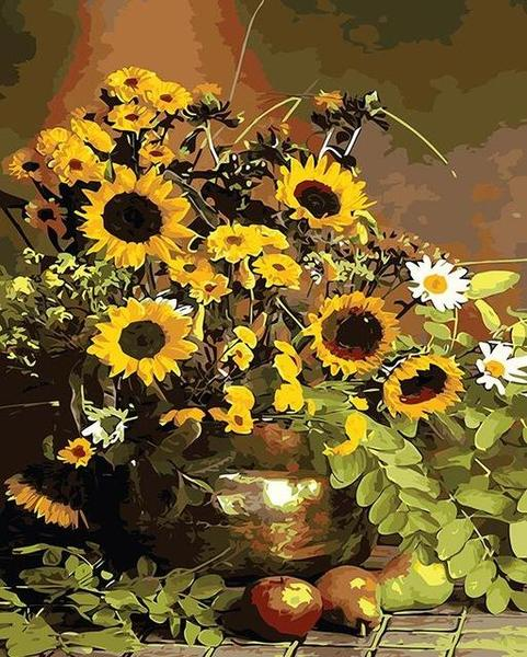 Sunflowers in Copper Vase Paint by Numbers
