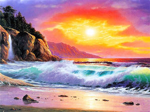 Sunset Beach Paint by Diamonds