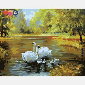 Swans Family Paint by Numbers