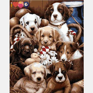 Sweet Puppies Paint by Numbers