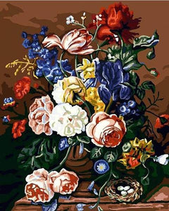 Vase of Garden Roses Paint by Numbers