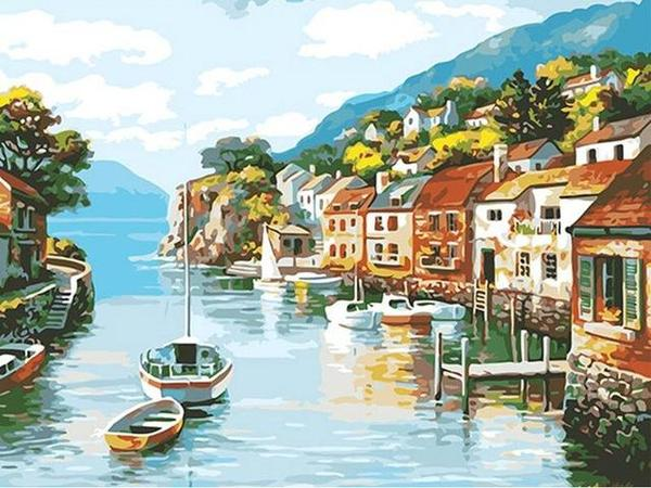 Village on Water Paint by Numbers