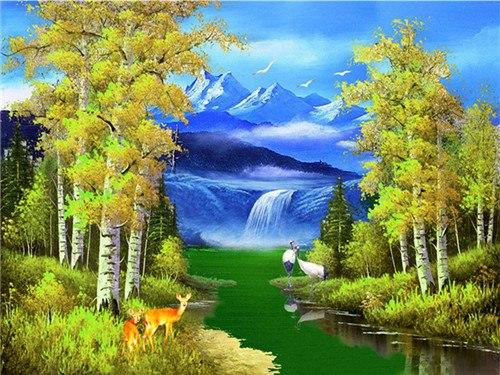 Waterfall & Forest Paint by Diamonds