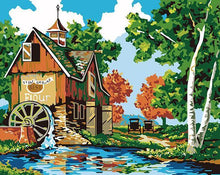 Load image into Gallery viewer, Watermill Scenery Paint by Numbers
