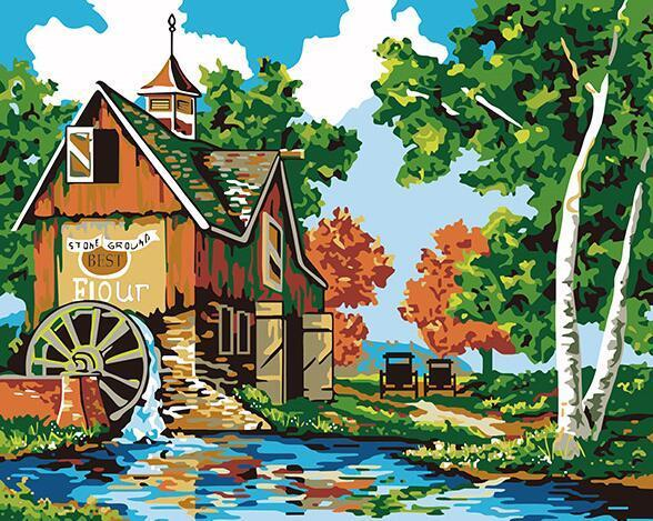 Watermill Scenery Paint by Numbers