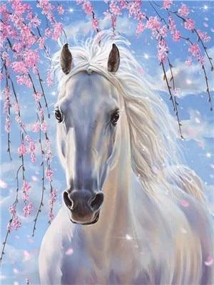 White Horse & Pink Flowers Paint by Diamonds