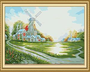 Windmill Landscape Paint by Numbers