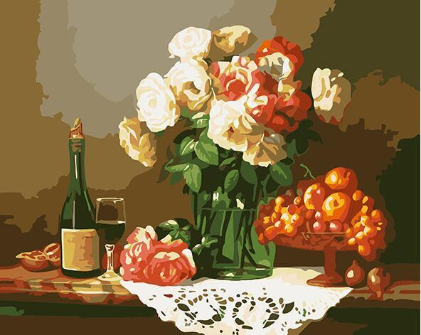 Wine, Fruits & Flowers Paint by Numbers