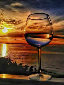 Wine Glass Sunset Paint by Diamonds