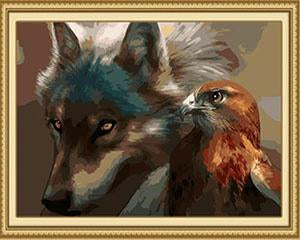 Wolf & Eagle Paint by Numbers