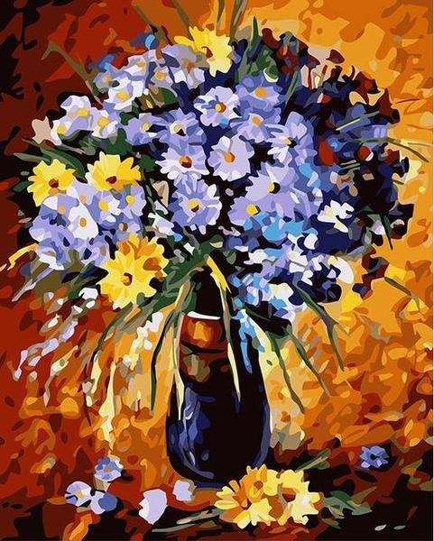 Yellow & Purple Daisies Paint by Numbers