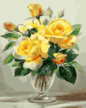 Load image into Gallery viewer, Yellow Roses in Glass Paint by Numbers