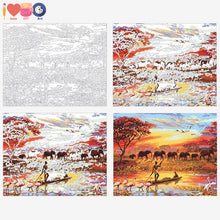 Load image into Gallery viewer, Africa Elephant Sunset Boating Paint On Canvas Kit