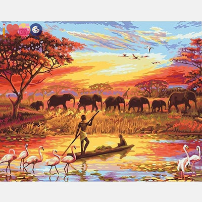Africa Elephant Sunset Boating Paint On Canvas Kit