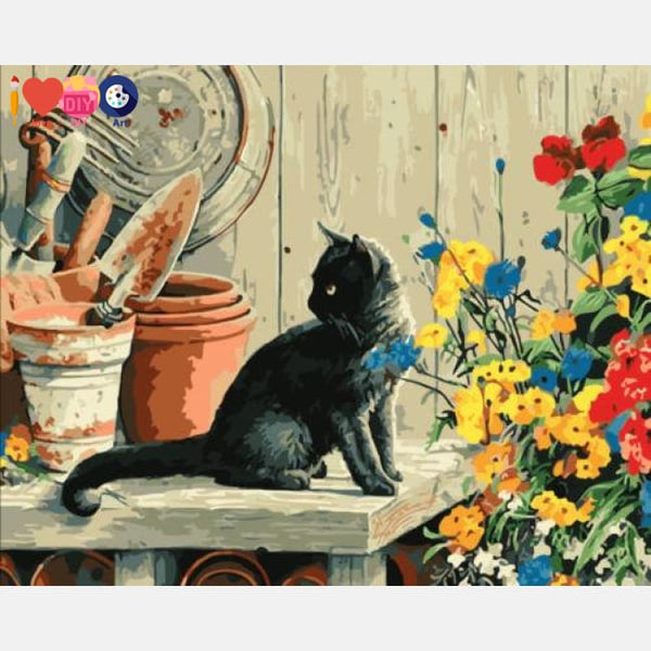 Black Cat With Flowers | Art Through Numbers