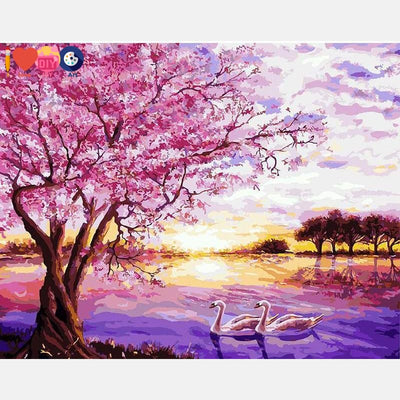 Cherry Tree Along The River Painting