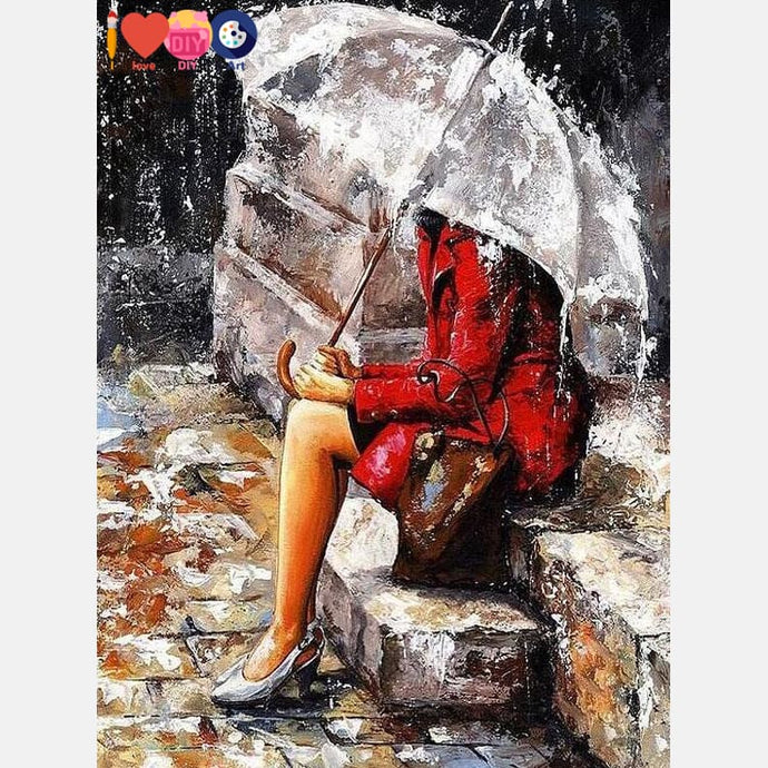 Girl In The Rain Painting