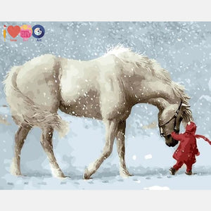 Beautiful White Horse In The Snow - Paint By Numbers