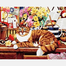 Load image into Gallery viewer, Big Cat Sitting On Table With Flowers And Other Stuff