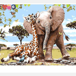 Cartoon Animal Paintign With Paint By Numbers Kit For Kids