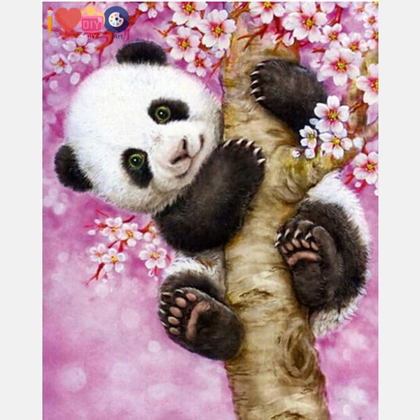 Cute Baby Panda Hanging On The Tree - Paint By Numbers