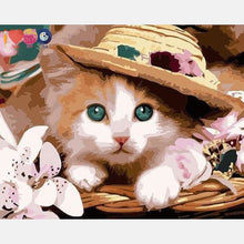 Load image into Gallery viewer, Cute Cat With A Hat Painting By Numbers