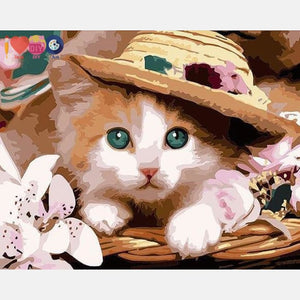 Cute Cat With A Hat Painting By Numbers