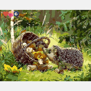 Cute Hedgehog Painting Diy With Paint By Numbers