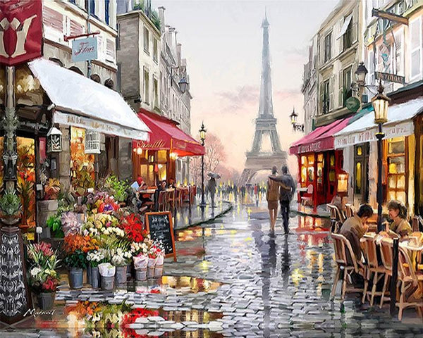 paris paint by numbers for adults