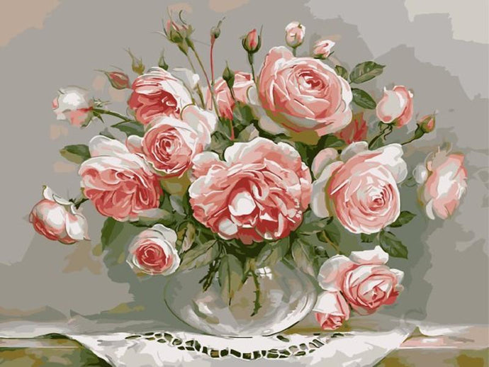 Pink Roses in Glass Vase DIY Painting - Paint by Numbers
