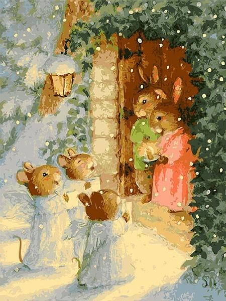 Cute Rabbits in the Snow Cartoon Painting - Paint by Numbers