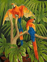 Load image into Gallery viewer, Macaw Parrots in Jungle DIY with Paint by Numbers