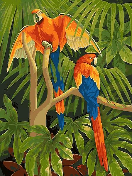 Macaw Parrots in Jungle DIY with Paint by Numbers