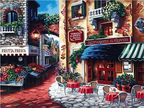 Coffee Shop in the Town - Paint by Numbers