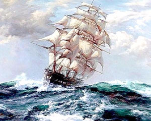 Ship in the Raging Sea Paint by Numbers Painting