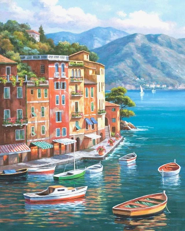Boats, Town and Mountains Painting by Numbers kit for Adults