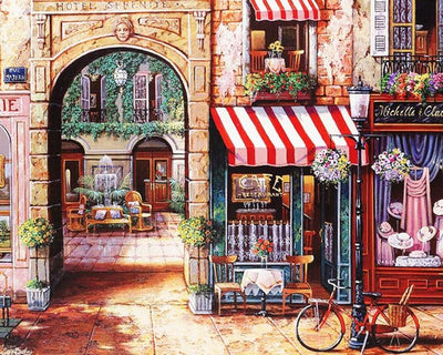 Storefront in the Medieval City Painting - Paint by Numbers