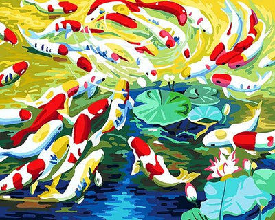 Fish in the Pond Painting - Paint by Numbers