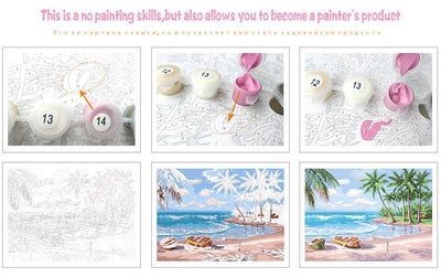 Pink White Flower DIY Painting By Numbers - A Unique Gift
